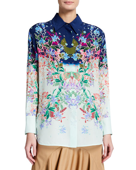 Givenchy Floral Silk Button-Front Shirt