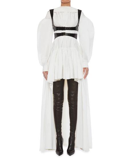 Alexander McQueen Long Poet-Sleeve High-Low Silk Faille Dress