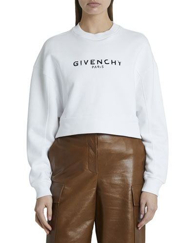 Cropped Oversized Cotton Sweatshirt