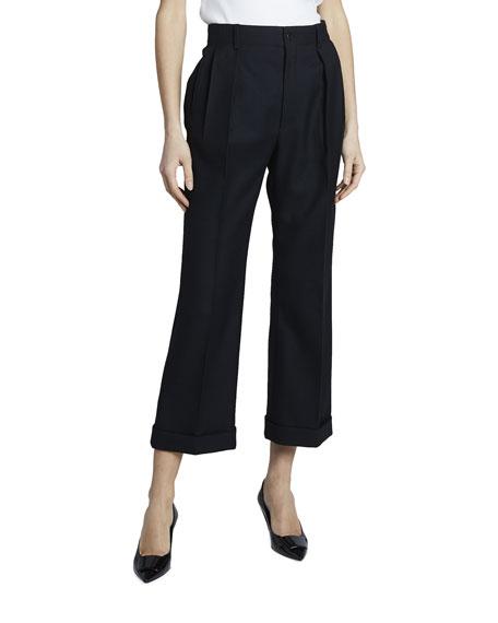 Saint Laurent High-Waist Straight-Leg Gabardine Pants with Cuff