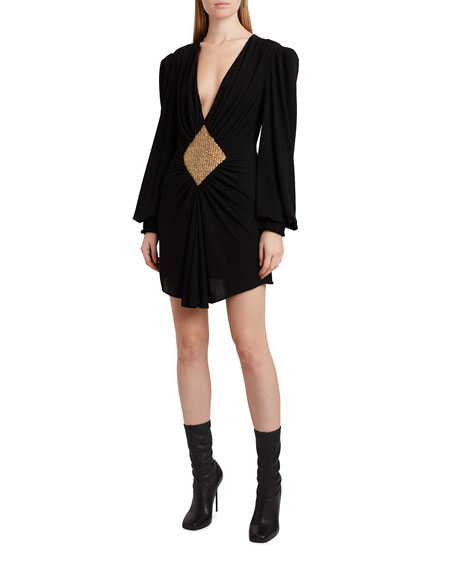 Balmain Gathered Embellished Jersey Mini Dress