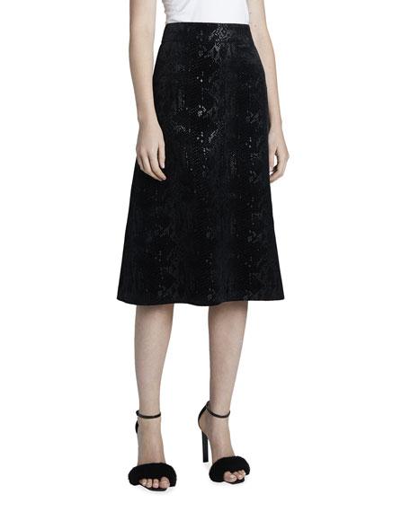 Saint Laurent Velvet Snake Midi A-Line Skirt
