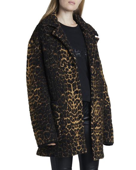 Saint Laurent Leopard Jacquard 3-Button Coat