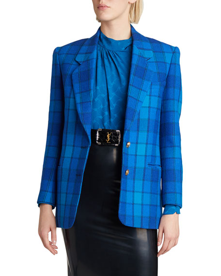 Saint Laurent Plaid Wool Blazer