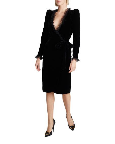 Saint Laurent Velvet Lace-Trim Tie-Waist Wrap Dress
