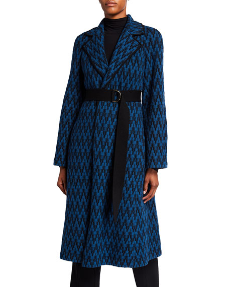 St. John Collection Graphic Felted Herringbone Coat with Contrast Knit Trim Detail & Knit Belt