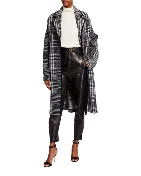 St. John Collection Felted Prince Of Wales Plaid Knit Coat with Contrast Knit Trim Detail