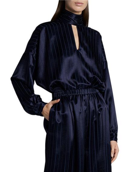 Balenciaga Fluid Vareuse Stripe Tie-Neck Silk Blouse