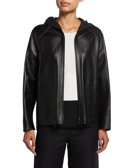 Akris Hooded Leather High-Low Jacket