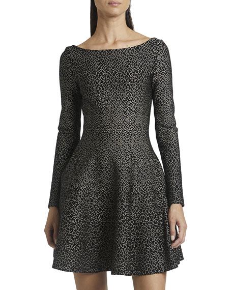 ALAIA Boat-Neck Stretch Wool Metallic Jacquard Mini Flare Dress