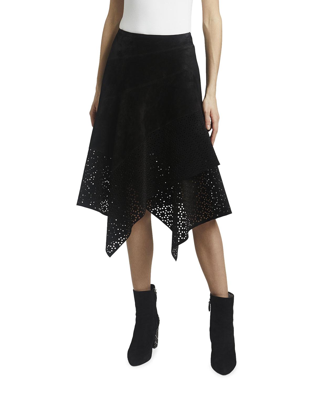 Asymmetrical Openwork Suede Midi Skirt