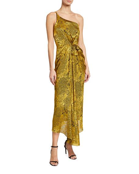 Halpern One-Shoulder Animal-Print Chiffon Dress