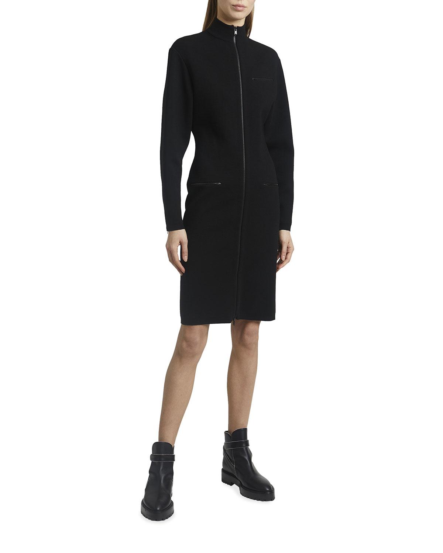 Mock-Neck Zip-Front Long Stretch Wool Dress
