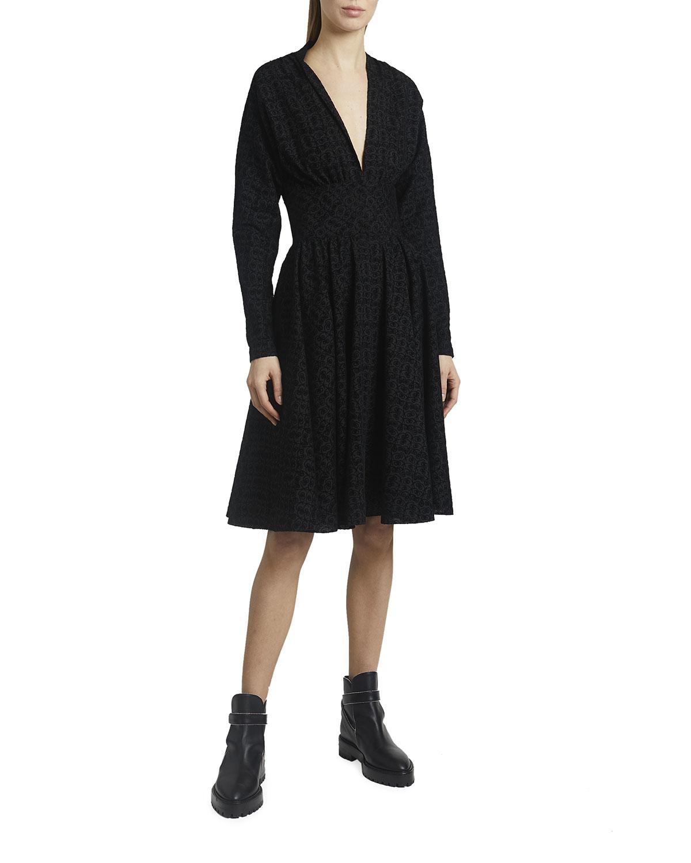 Tornado Flocked Wool Chiffon Long-Sleeve Dress