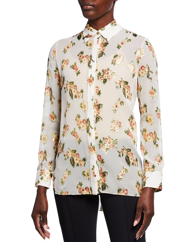Floral-Print Silk-Chiffon Menswear Top