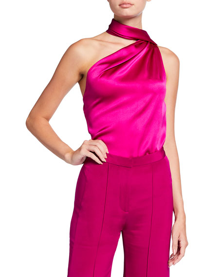 Adam Lippes Draped One-Shoulder Silk Top