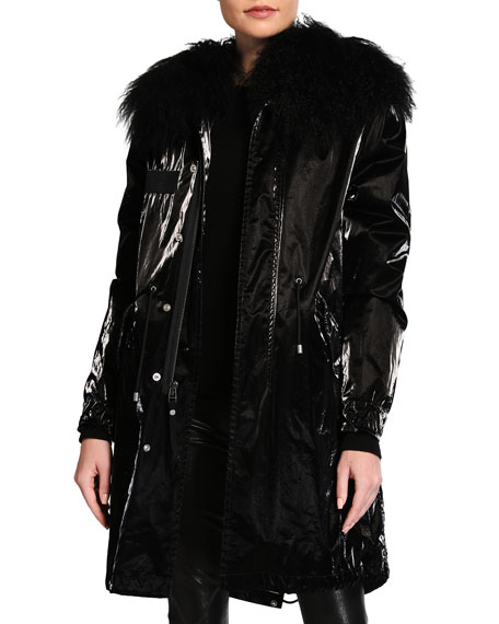 Mr&Mrs Italy Jazzy Classic Faux-Leather Parka w/ Mongolian Fur Trim