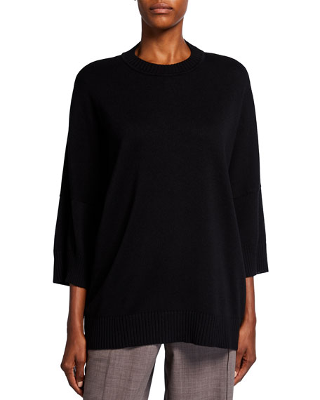 Eskandar 3/4-Sleeve Sloped Shoulder Sweater