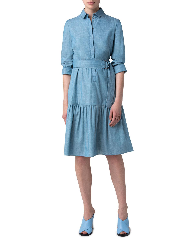 Belted Cotton Chambray Flounce-Hem Dress