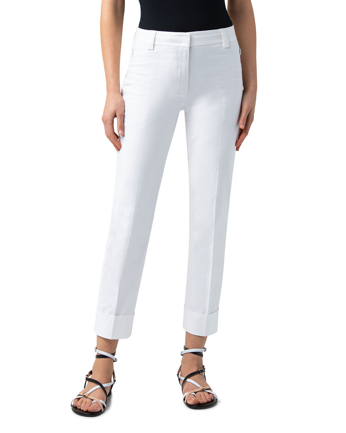 Maxima Pleated Cropped Cuff Pants
