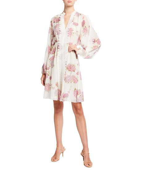 Giambattista Valli Floral Print Silk Dress w/ Lace