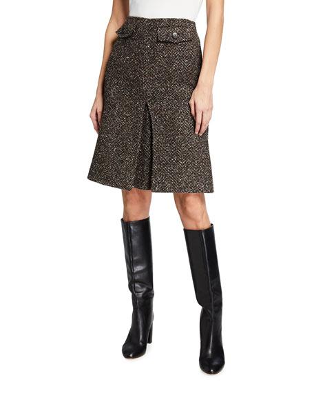 Victoria Beckham Wool-Blend Mini Box Pleat A-Line Skirt
