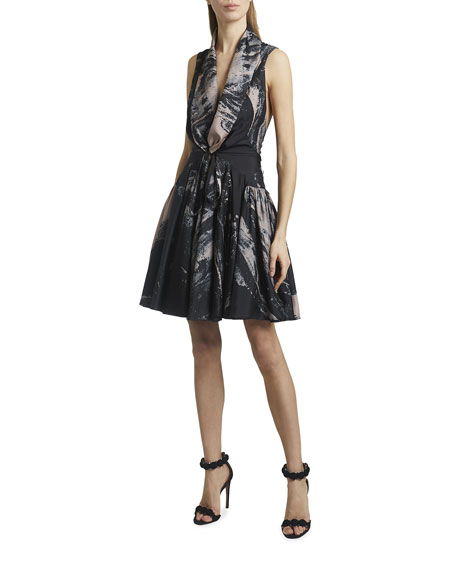 ALAIA Abstract Print Sleeveless Short Silk Dress