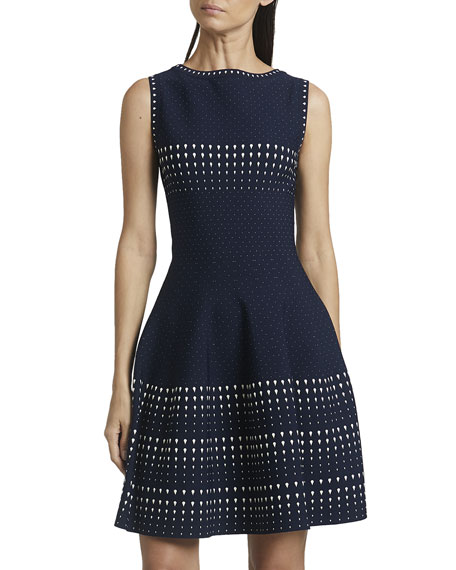 ALAIA Dotted Stripe Sleeveless Fit-&-Flare Dress