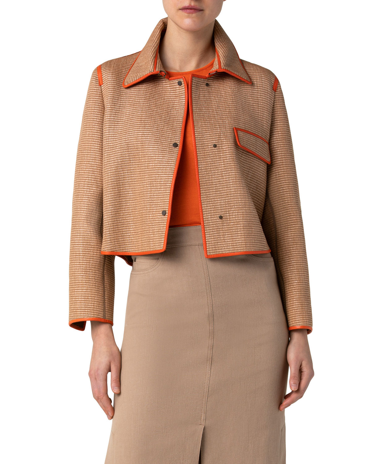 Akris Leathers CROPPED RAFFIA JACKET W/ LEATHER PIPING