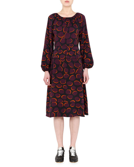 Marni Printed A-Line Midi Dress