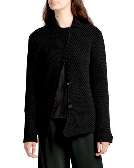 THE ROW Abely Ribbed Wool Cardigan