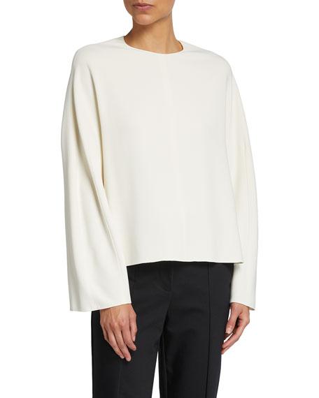 THE ROW Linda Wool-Blend Long-Sleeve Top