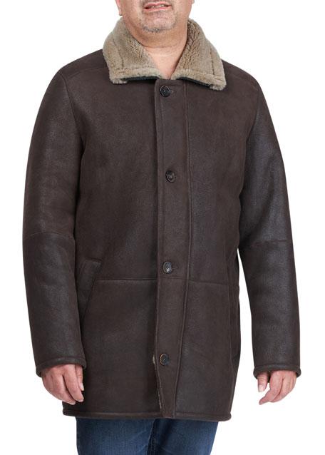 HiSO Men's Shearling Lamb Stroller Coat