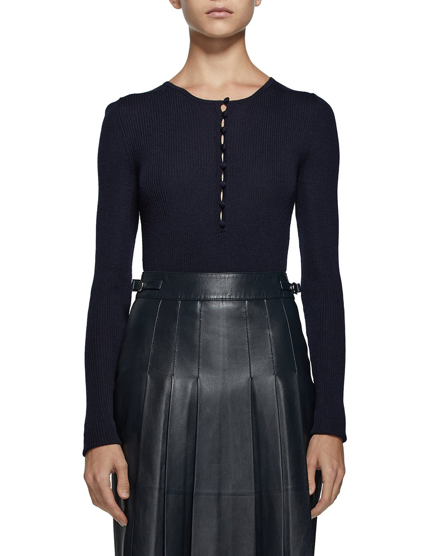 Jenny Ribbed Cashmere-Silk Henley Shirt
