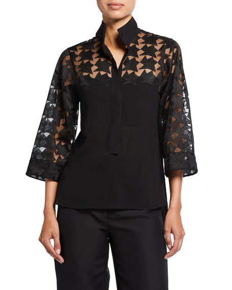 Akris Collared Tunic with Star Embroidery