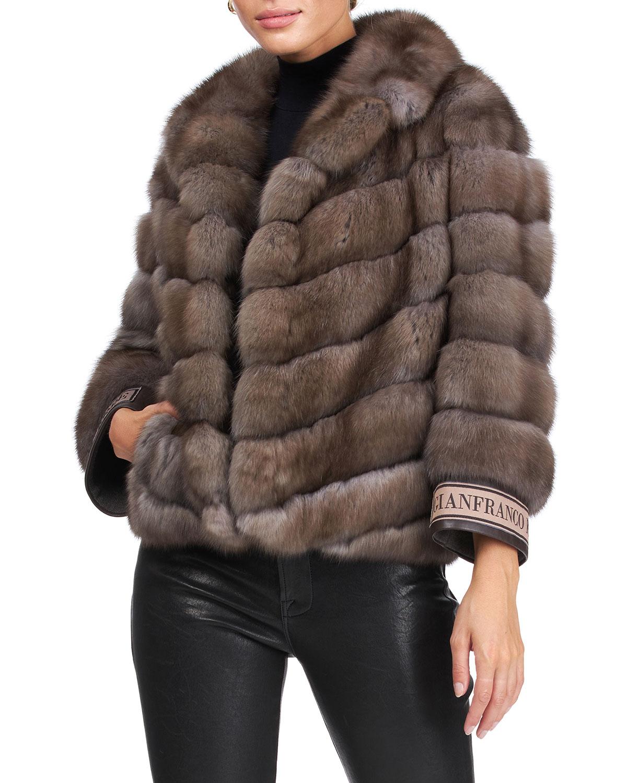 Chevron Russian Sable Fur Jacket