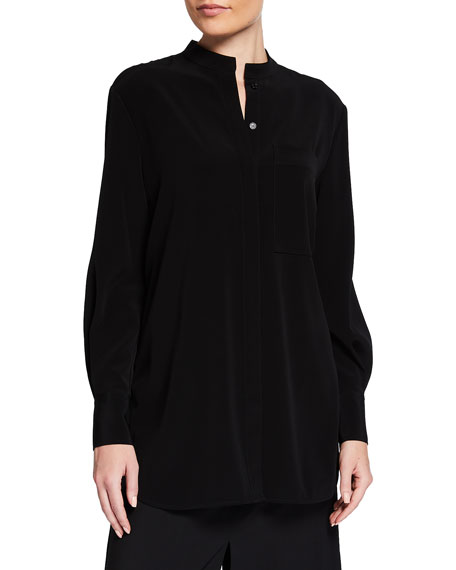Co Banded-Neck Crepe Top