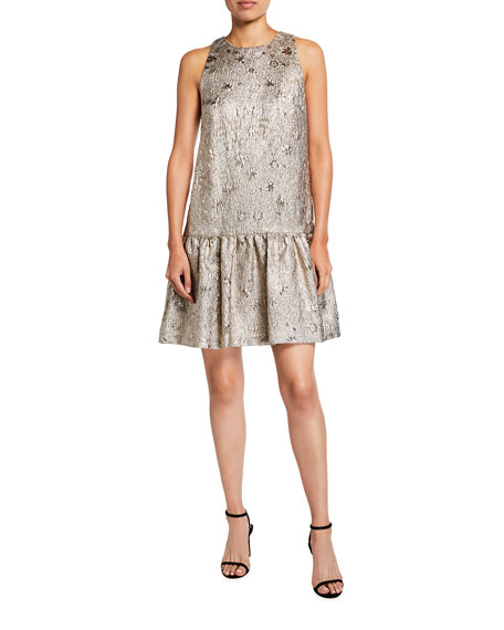 Lela Rose Metallic Sleeveless Drop-Waist Flounce Dress