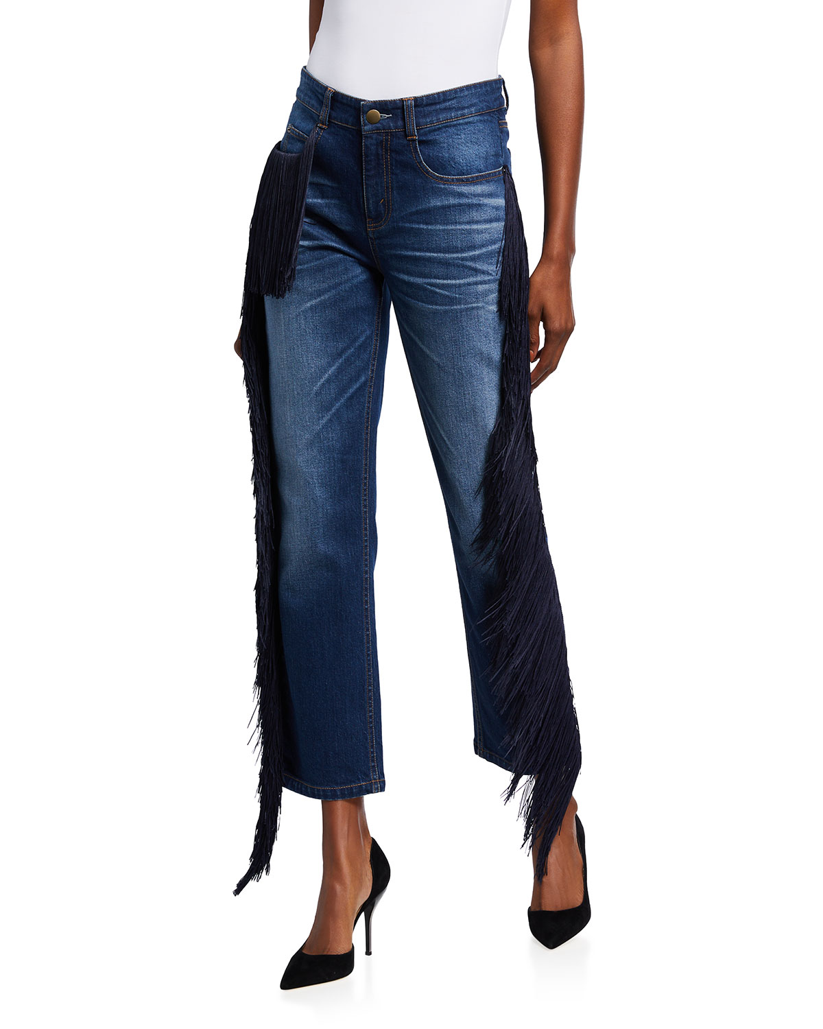 Beau Fringed Straight-Leg Ankle Jeans