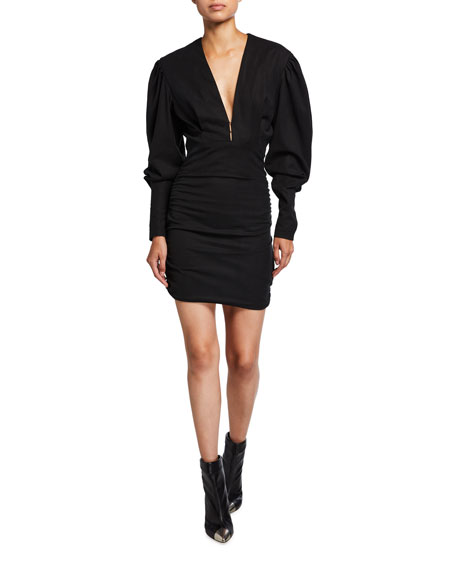 Isabel Marant Puff-Sleeve Ruched Mini Dress