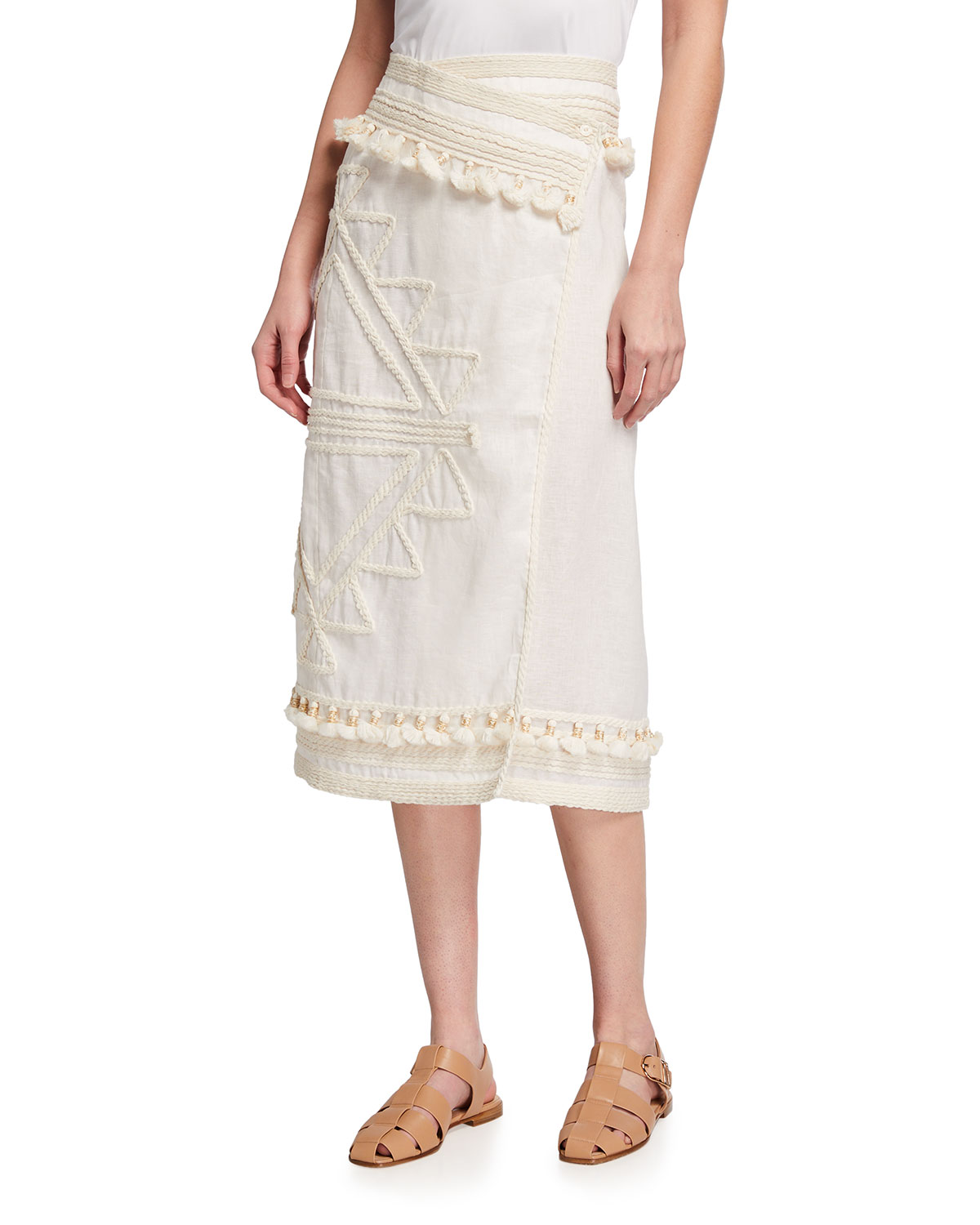 Eastern Frontier Embroidered Wrap Skirt