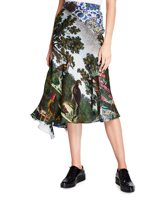 Ottoman & Pirate Bird-Print Asymmetric Flare Skirt
