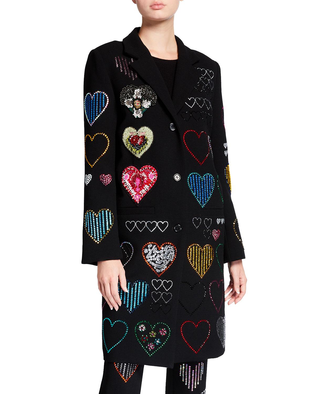 Hearts Crystal Embellished Wool Coat
