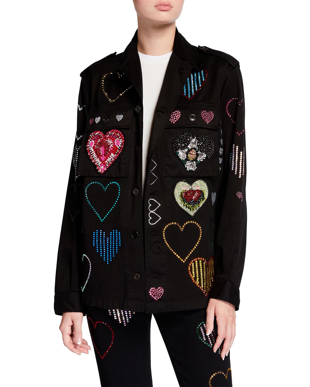 Hearts Crystal Embellished Army Jacket