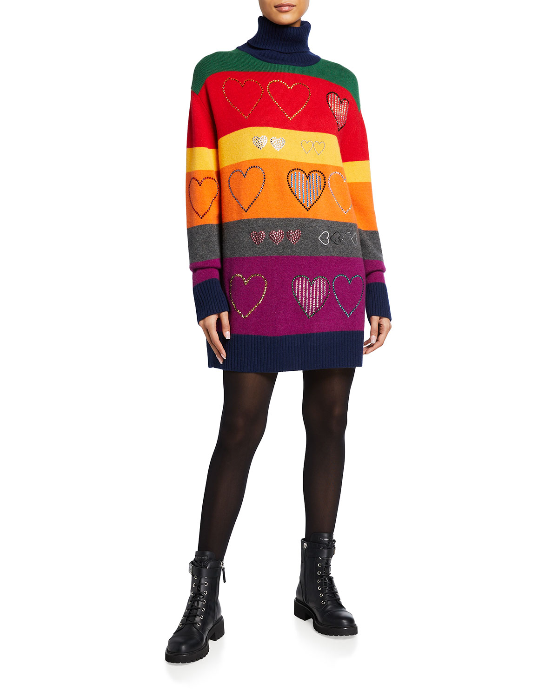 Striped Heart Cashmere Turtleneck Sweater