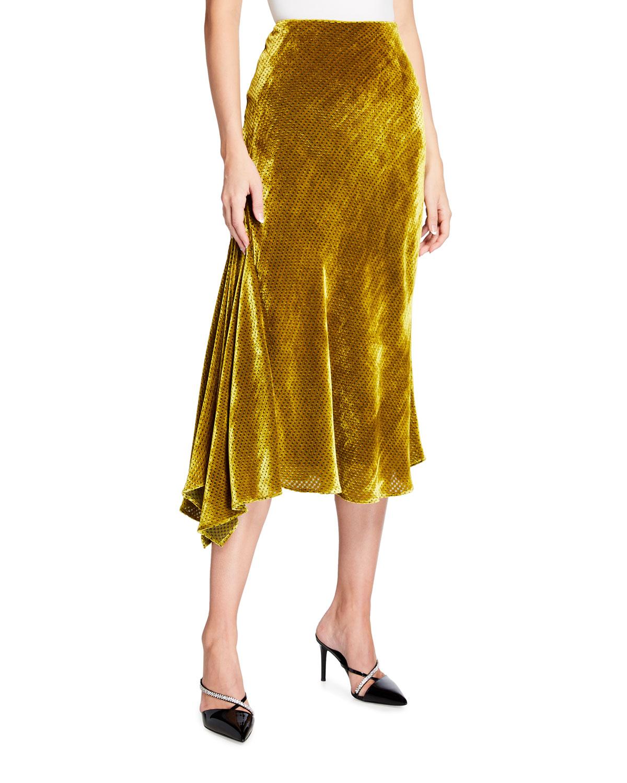 Chartreuse Velvet Asymmetric Flare Skirt