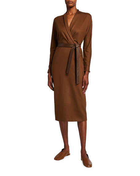 Maxmara Wool Faux-Wrap Midi Dress w/ Lamb Leather Belt