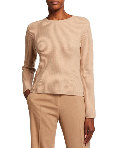 Ribbed Wool Knit Sweater Neiman Marcus