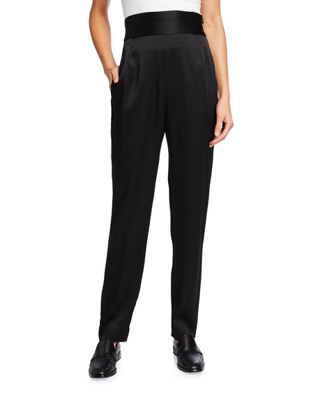 Jason Wu Collection Solid Crepe Satin High-Rise Pants