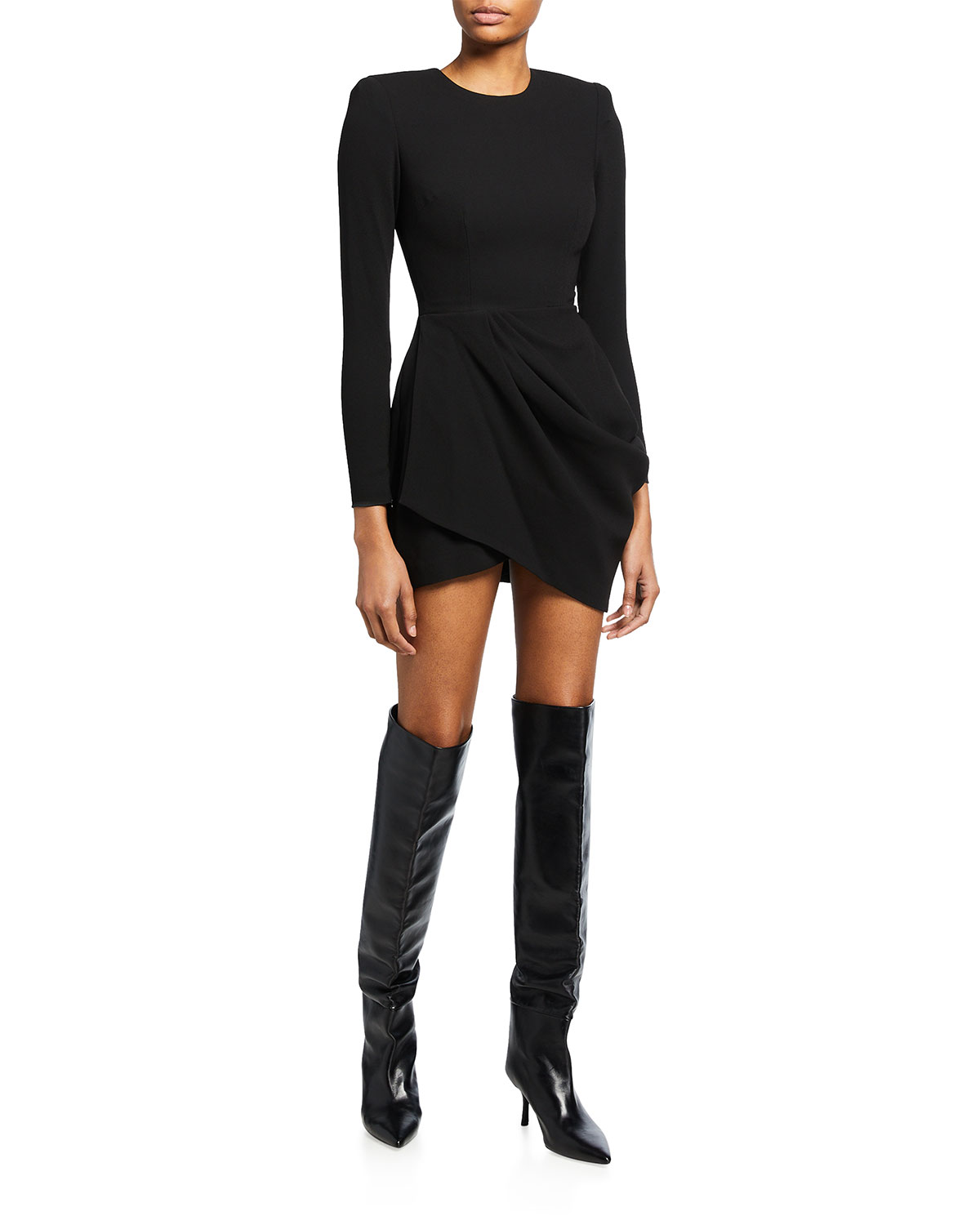Chester Ruched Crepe Mini Dress